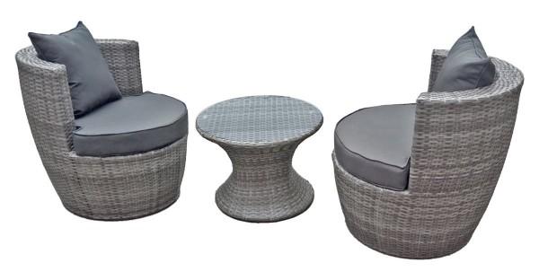 VARILANDO 3-teiliges Club-Set aus grauem Kunststoffgeflecht Lounge-Set Lounge-Gruppe Sitzgruppe
