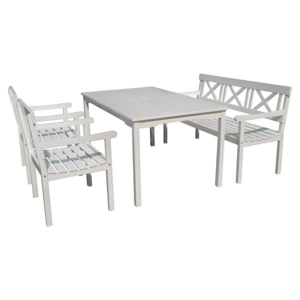 """VARILANDO 4-teilige Tischgruppe """"Matthilde"""" im Schwedenlook aus weiß lackierter Akazie Sitzgruppe"""