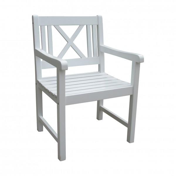 """VARILANDO Armlehnen-Sessel """"Matthilde"""" aus weiß lackierter Akazie Holz-Gartenstuhl Schweden-Look"""