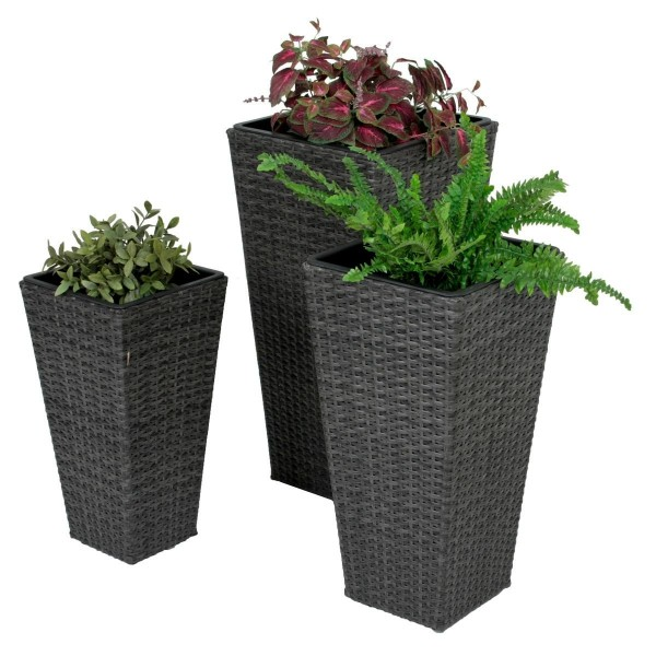 VARILANDO Pflanztopf im 3er Set aus geflochtenem Kunststoff in dunkelgrau Blumentopf Übertopf