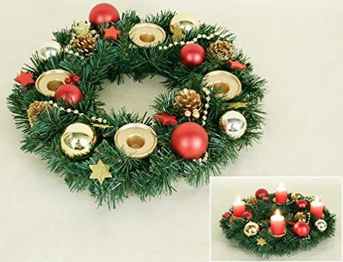 VARILANDO® Adventskranz für Echtwachs-Kerzen Ø 35 cm Weihnachts-Kranz Weihnachts-Dekoration
