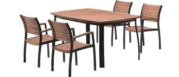 VARILANDO Moderne 5-teilige Tischgruppe aus geöltem Eukalyptus und Aluminium Sitzgruppe Gartengruppe