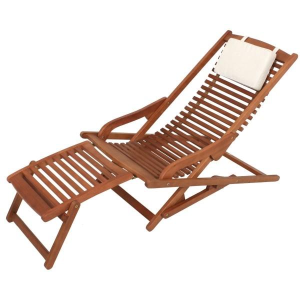 VARILANDO Lounge-Chair aus geöltem Eukalyptus Deckchair Sonnenliege Gartenliege Holzliege