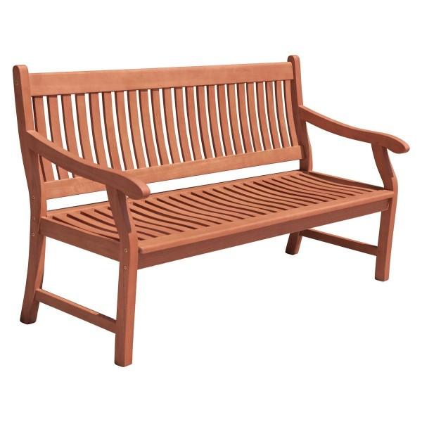 VARILANDO 3-Sitzer Gartenbank aus geöltem Eukalyptus Sitzbank Holzbank