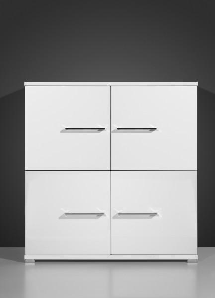 VARILANDO Kommode in hochglanz-weiß mit 4 Türen Sideboard Buffet Schrank