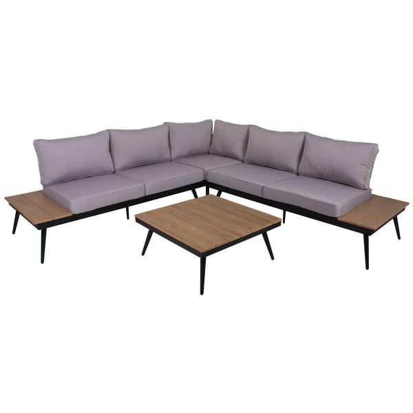 VARILANDO Lounge -Set im Retro-Look aus Eukalyptus und Aluminium Lounge-Gruppe Gartengruppe Sitzgrup