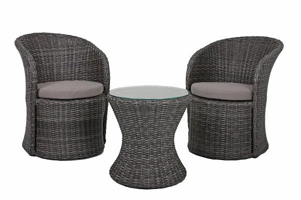 VARILANDO 3-teiliges Lounge-Set aus dunkelgrauem Kunststoffgeflecht Club-Set Lounge-Gruppe Gartengru