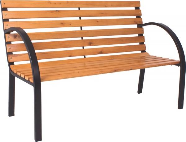 VARILANDO 2-Sitzer Parkbank aus Holz und Stahl Gartenbank Holzbank Sitzbank