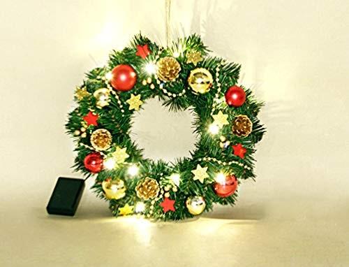 VARILANDO® Weihnachs-Kranz für Innenräume mit 15 LED in warmweiß Ø 30 cm Adventskranz Weihnachts-Dek