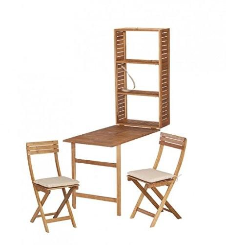 """VARILANDO Balkon-Set """"Selena"""" 5-teilig Klapptisch Regal und Stühle mit Auflagen aus Akazienholz"""