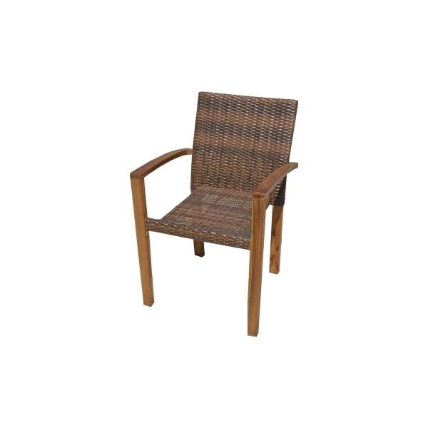"""VARILANDO 7-teilige Tischgruppe """"T1""""aus Akazie und braunem Kunststoffgeflecht Tisch und 6 Stühle"""