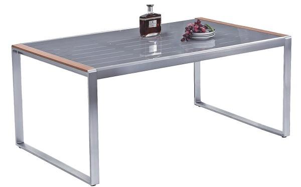"""VARILANDO rechteckiger Gartentisch """"Eve"""" aus Aluminium und Glas 160 cm Esstisch Retro-Look"""