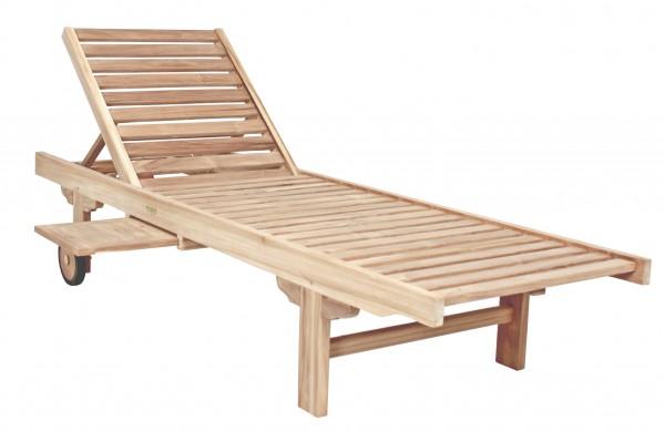 """VARILANDO Sonnenliege """"S1"""" aus unbehandeltem Teak Gartenliege Holzliege Deckchair"""