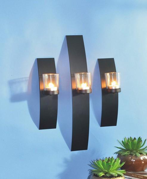 VARILANDO® Wand-Kerzenhalter aus Metall und Glas im 3er-Set für Teelichter