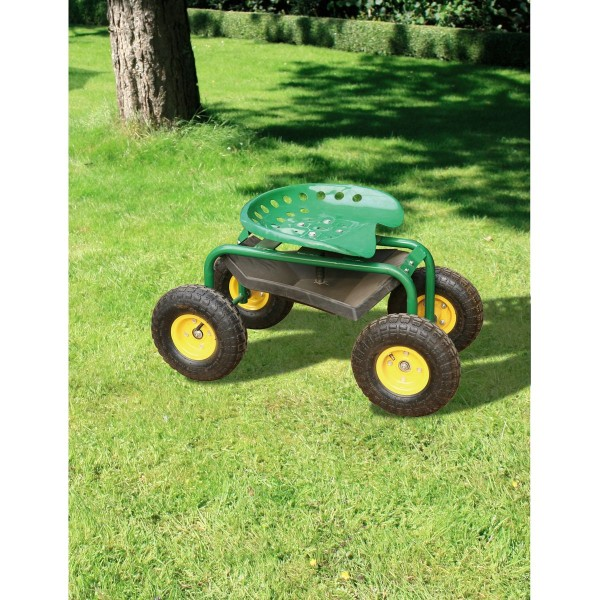 VARILANDO fahrbarer Gartensitz Sitzwagen Scooter Gartenwagen Gartensitzwagen Rollsitz Senioren