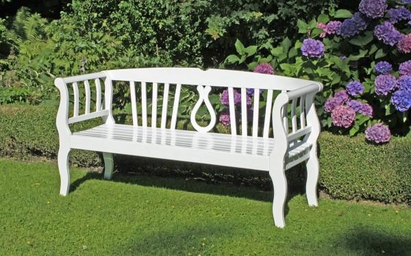 "VARILANDO Gartenbank ""Arcadia"" aus weiß lackiertem Eukalyptus als 3-Sitzer Sitzbank Holzbank"