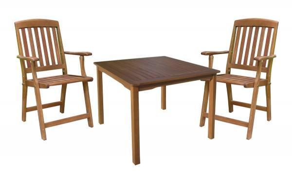 """VARILANDO Tischgruppe """"Paul"""" mit 2 Klapparmstühlen und quadratischem Tisch Sitzgruppe Gartengruppe"""