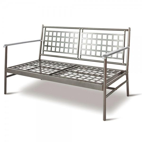 """VARILANDO moderne Tiefsitzer-Gartenbank """"Karl"""" aus polyester-beschichtetem Metall als 2-Sitzer Metal"""