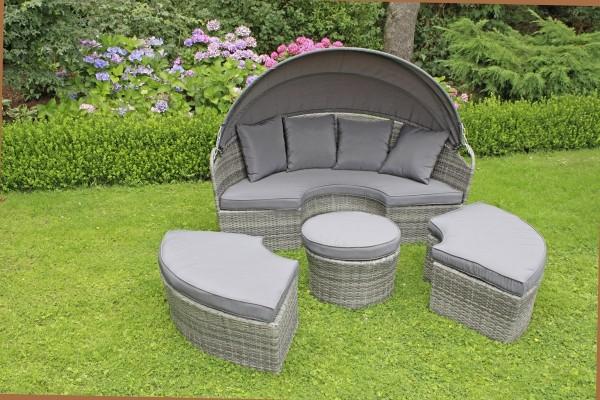 VARILANDO 4-teilige Sitzinsel aus grau-schwarzem Kunststoffgeflecht Lounge-Gruppe Sitzgruppe