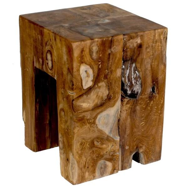 VARILANDO Hocker aus massivem Teak-Holz Fuß-Hocker Sitz-Hocker Holz-Hocker Deko-Hocker