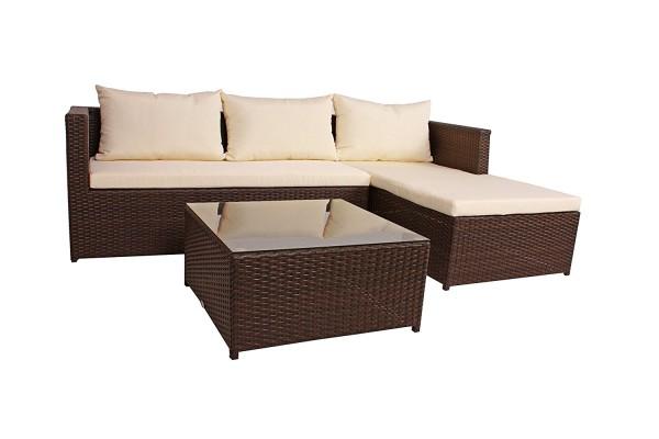 VARILANDO Lounge-Gruppe aus Kunststoffgeflecht und Stahl in der Farbe coffee Sitzgruppe Gartengruppe