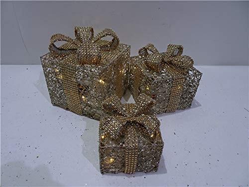 VARILANDO® Dekorative LED-Geschenk-Päckchen im 3er-Set Geschenk-Pakete