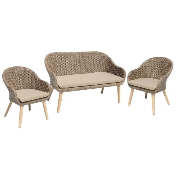 """VARILANDO 4-teilige Sitzgruppe """"Paula"""" aus gebürsteter Akazie und beige-braunem Kunststoffgeflecht"""