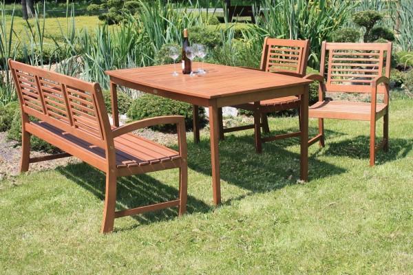 """VARILANDO Gartentisch """"Madison"""" aus geöltem Eukalyptus 150 cm Holztisch Esstisch"""