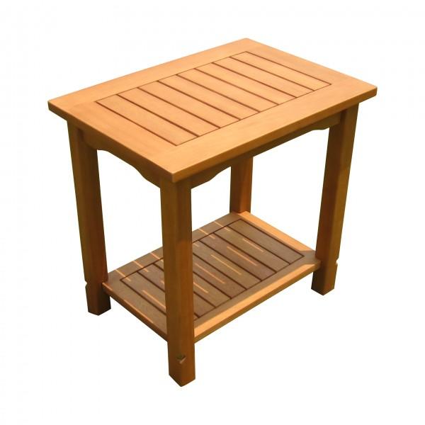"""VARILANDO Beistelltisch """"Santa Cruz"""" aus geöltem Eukalyptus Kaffeetisch Gartentisch Holztisch"""
