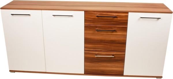 VARILANDO modernes Sideboard hochglanz-weiß mit Walnuss-Nachbildung Buffet Kommode Anrichte