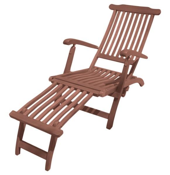 """VARILANDO Deckchair """"Phoenix"""" aus geöltem Eukalyptus Gartenliege Holzliege Sonnenliege Liege"""