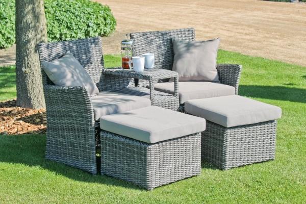 VARILANDO Lounge-Set Doppelsessel-Set mit 2 Hockern aus graubraunem Kunststoffgeflecht und Aluminium