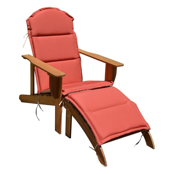 """VARILANDO Adirondack-Chair """"Harper"""" aus geöltem Eukalyptus mit Auflage in Terracotta Deckchair"""