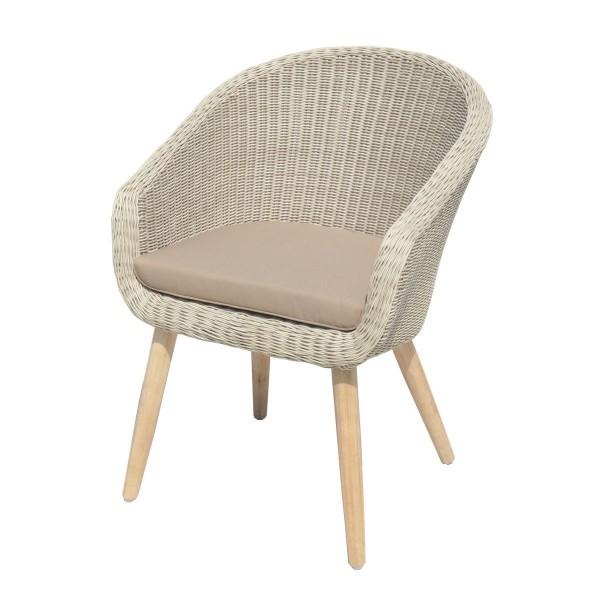 VARILANDO 5-teilige Sitzgruppe aus pfeffer-weißem Kunststoffgeflecht und gebürsteter Akazie 4 Sessel