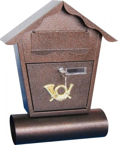 VARILANDO verschließbarer Briefkasten mit Zeitungsrolle aus verzinktem Stahl Postkasten