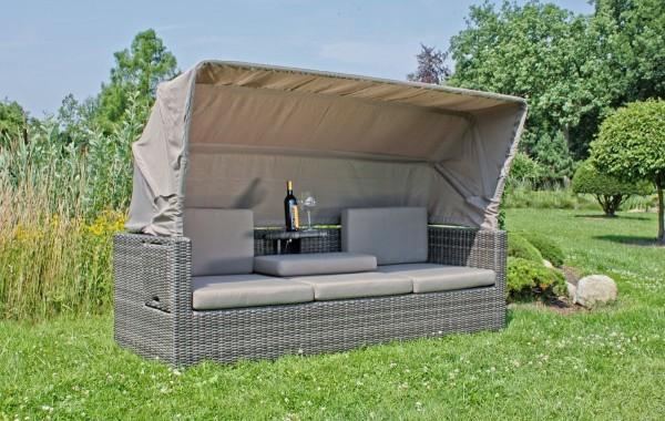 VARILANDO Lounge-Sofa Multifunktions-Sofa mit Sonnendach aus dunkelgrauem Kunststoffgeflecht