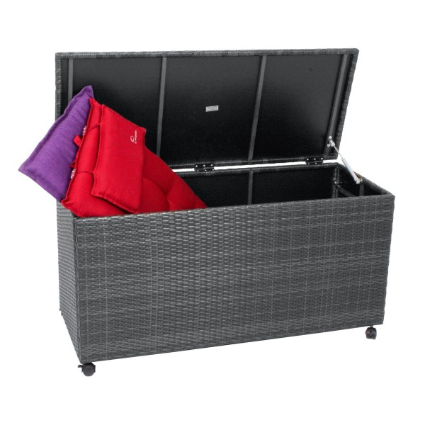 VARILANDO Auflagenbox auf Rollen aus Kunststoffgeflecht in 2 Farbvarianten Kissenbox