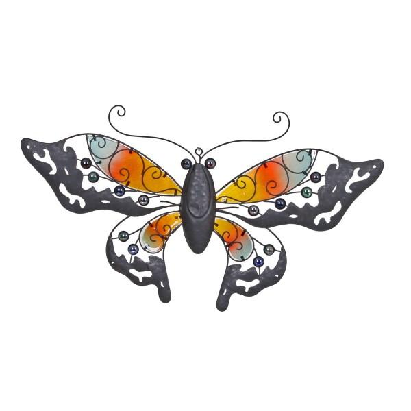 VARILANDO Schmetterling aus farbig lackiertem Metall zur Wanddekoration 78 cm Metall-Dekoration