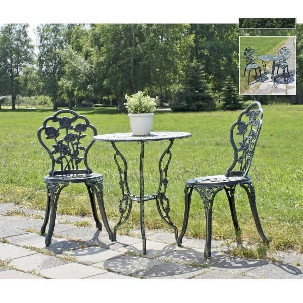 "VARILANDO Antik-Look Tischgruppe ""Scarlett"" Balkon-Sitzgruppe Garten-Gruppe 3-teilig"