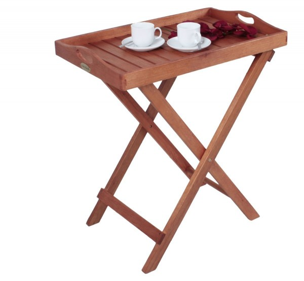 """VARILANDO Tabletttisch """"Dallas"""" aus geöltem Eukalyptus Tablettständer Tablett Servierwagen"""