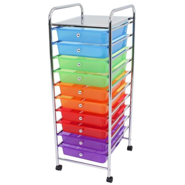 VARILANDO Schubladen-Trolley mit 10 Schubladen in 5 Farben Ablagekörbe Aufbewahrung