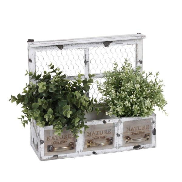 VARILANDO® Dekorativer Blumenkasten aus Holz im Shabby-Chic Vintage-Pflanzkasten Blumenkübel