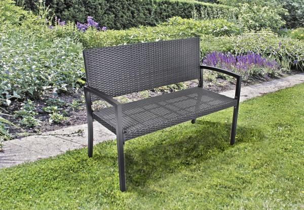 varilando gartenbank parkbank sitzbank 2 sitzer aus kunststoffgeflecht und aluminium in schwarz. Black Bedroom Furniture Sets. Home Design Ideas