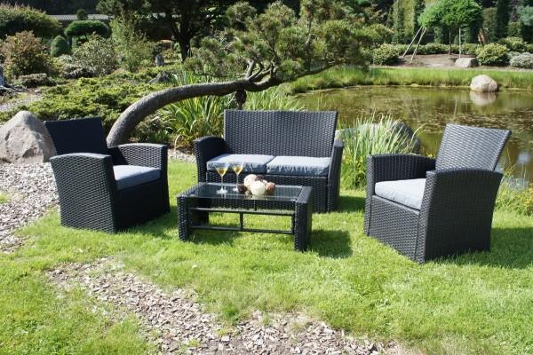 VARILANDO 4-teilige Lounge-Gruppe aus schwarzem Kunststoffgeflecht Sofa Sessel Tisch Gartengruppe
