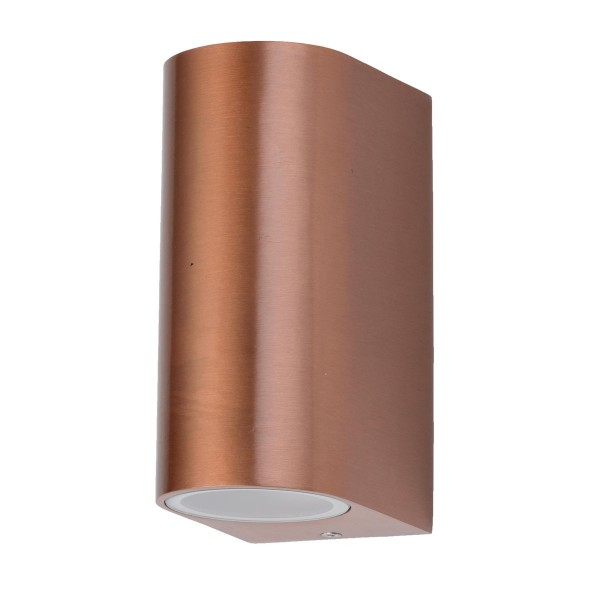 VARILANDO Wandleuchte mit Kupfer-Finish aus Aluminium und Glas Wandlampe Außenleuchte