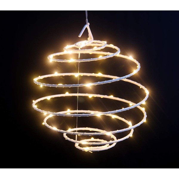 VARILANDO® Outdoor-geeignete LED-Spiralleuchte mit 50 LED in warmweiß LED-Kugel