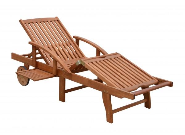 VARILANDO Gartenliege aus geöltem Eukalyptus Sonnenliege Deckchair