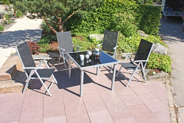 """VARILANDO quadratischer Glastisch """"Don"""" mit Aluminiumgestell Esstisch Gartentisch Kaffeetisch"""