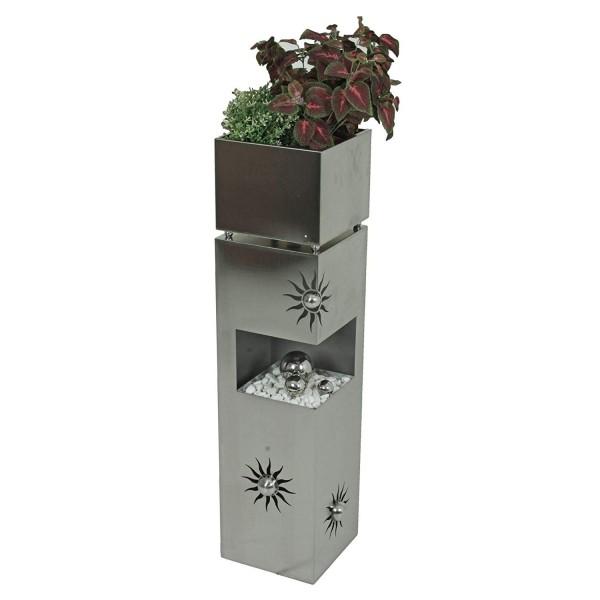 VARILANDO® Pflanzsäule aus Edelstahl mit Sonnen-Motiv Garten-Säule Pflanz-Schale