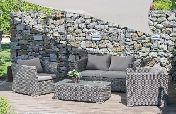 VARILANDO Lounge-Gruppe 4-teilig bestehend aus 2-Sitzer Sofa 2 Sesseln und Tisch in graubraun